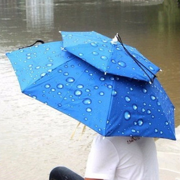 Sun Umbrella Cap Outdoor Large Double-deck Cycling Fishing Hiking Beach Camping Sunshade Folding Sunny Rain Anti-UV Umbrella Hat Cap
