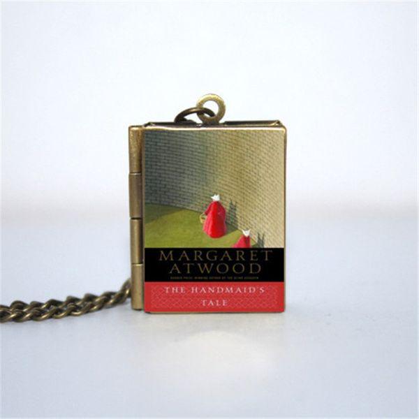 12pcs The Handmaid's Tale Book Locket Necklace, bronze tone
