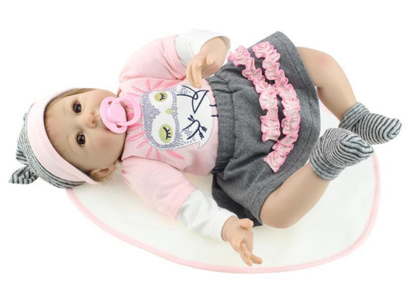 NEW 20 Inch 55 cm Nicery Reborn Baby Doll Soft Silicone Girl Toy Personalized Creative Gift Big Eye Owl