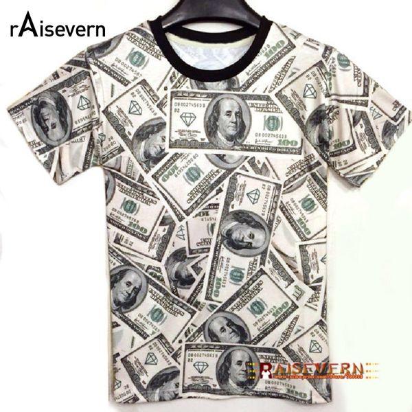 Wholesale- Funny! 2017 Summer Fashion Women/Men T-shirt The Money Dollar Print O-neck Novely 3d T Shirt Tops Shirts Unisex Top Tees