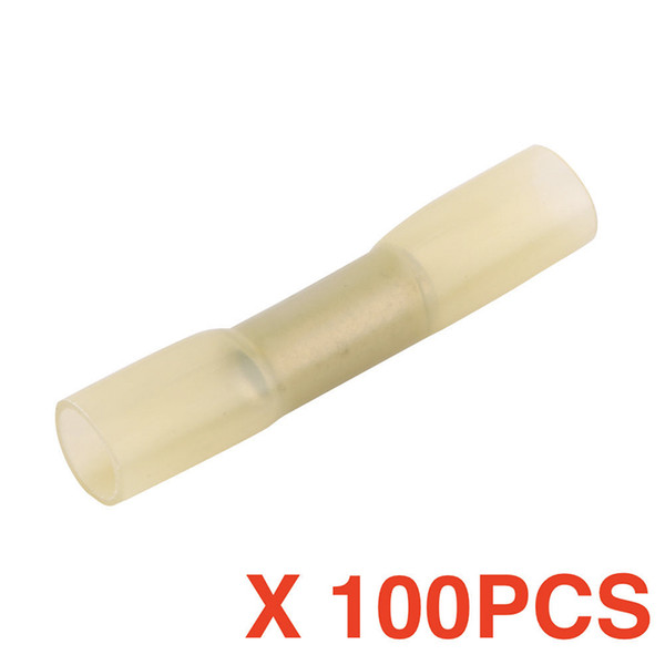 top popular (100 pieces   lot) Solder Sleeve Heat Shrink Butt Wire Splice Crimp Connector Waterproof Terminals Yellow BHT5.5 BHT5 12-10 AWG 2021