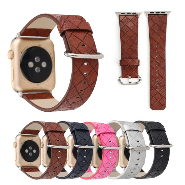 New Luxury Business Style Diamond Pattern Genuine Leather Watchband for Apple Watch 42mm 38mm Strap for Iwatch Series 1 2 3 band