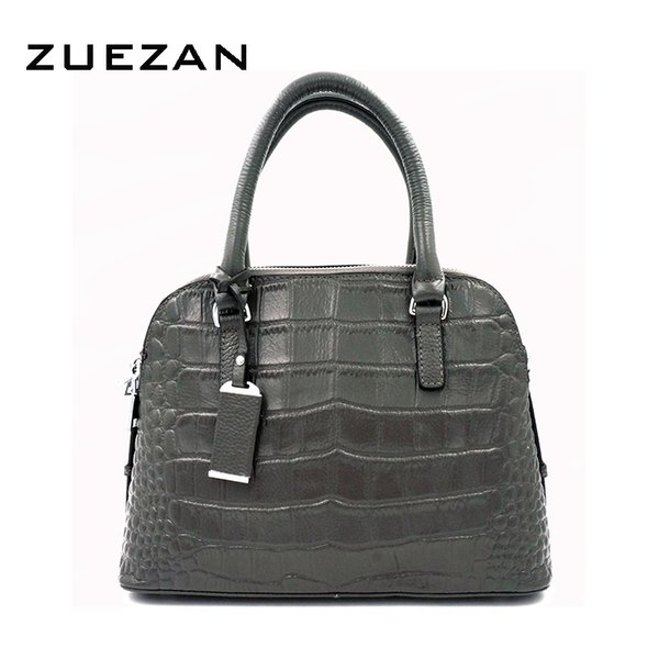 Wholesale- 3 Zip Compartment,Female Crocodile Pattern Shell Tote,Women Genuine Leather Handbag,Natural Cowhide Cross body Shoulder Bag,A002