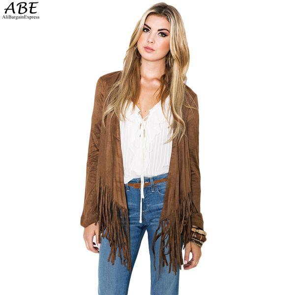 Toptan-Sonbahar Yeni Moda Saçaklı Hırka Ceket Kahverengi Kadınlar İnce Uzun Kollu Dış Giyim Coat Plus Size