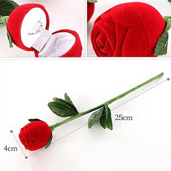 Romantic Red Rose Flower Velvet Wedding Ring holder Earrings Storage Display Case Pendants Jewelry Gift Box Valentines Day birthday gifts