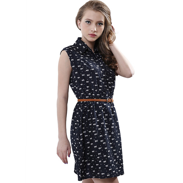 Wholesale free shipping Fun Orange summer fashion new women shirts dress Cat footprints pattern Show thin Shirt dress casual dresses with Be