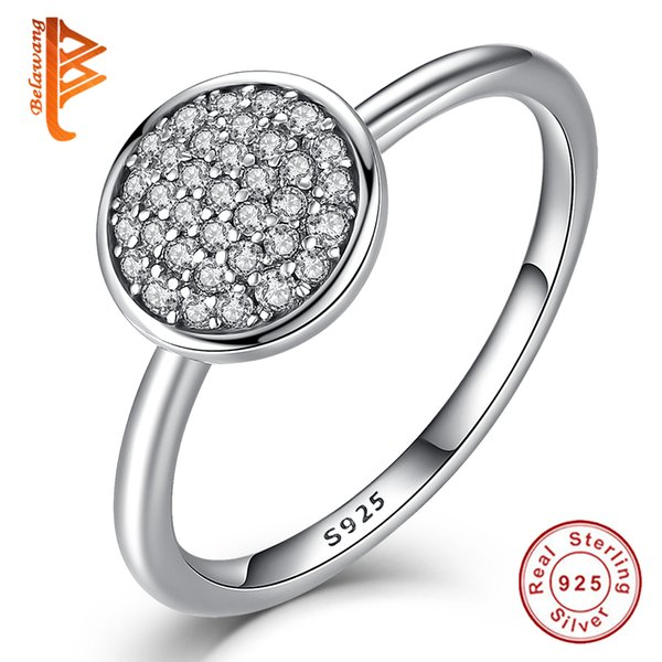 BELAWANG 3 Size 925 Sterling Silver Round Shape Radiant Elegance Jewelry Inlaid Clear Cubic Zircon Finger Rings for Women Engagement