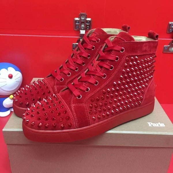 Men&women high-end custom genuine leather red coloured glaze nail casual shoes high top locomotive design red bottom sneakers size 36-46