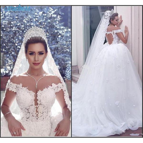 Elegant Lace Wedding Dresses 2017 Off The Shoulder Vintage Wedding ...