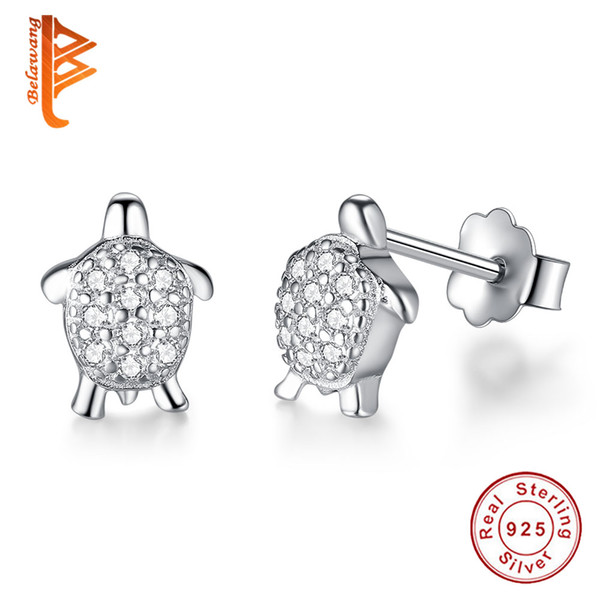 Presents 925 Sterling Silver Petite Earrings Clear Cz Compatible With Jewelry Special Store