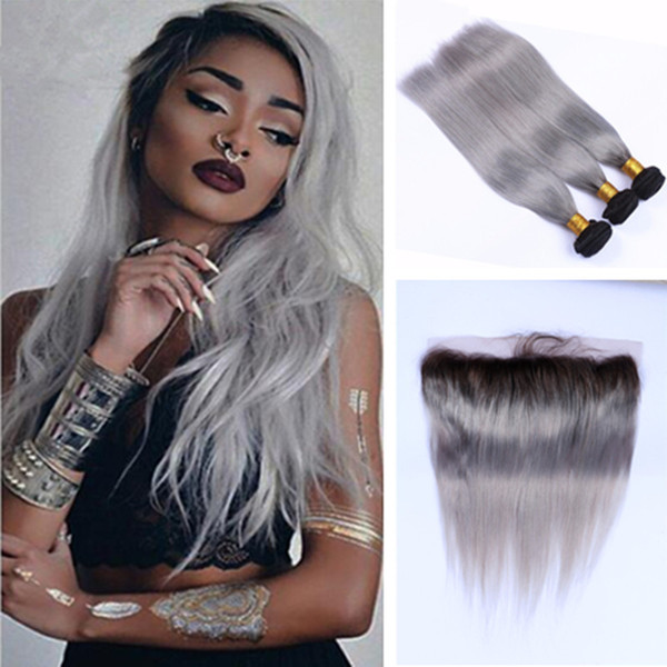 Gray Brazilian Virgin Hair Ombre Straight Human Weave 100/pc 8A Unprocessed Brazilian Hair Extension With frontal Grey Bundles Hair Weft