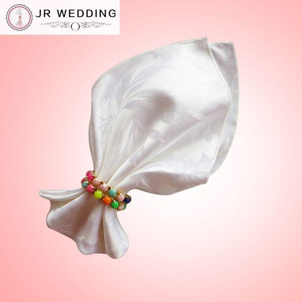 100% polyester white&ivory plain damask jacquard table napkin(bauhinia flower pattern) 100pcs a lot for wedding,party,hotel decoration use