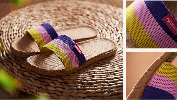 Anti-slip Linen Slipper Summer Striped Flaxen Women Men Hotel Indoor Home Shoes Straw Ladies Flat Flax Slippers Mujer Zapatos
