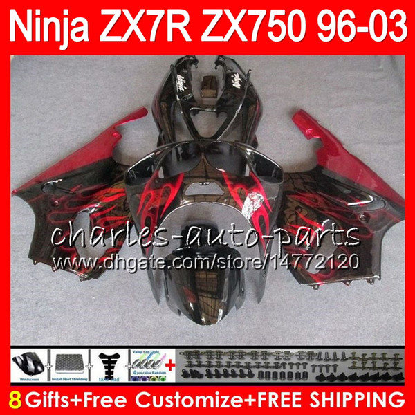 8Gifts 23Colors For KAWASAKI NINJA ZX7R 96 97 98 99 00 01 02 03 TOP red black 18NO36 ZX750 ZX 7R ZX-7R 1996 1997 1998 2001 2002 2003 Fairing