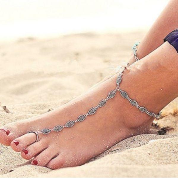 Vintage Ankle Chain Antique Silver Engraved Flower Pattern Anklets Boho Anklet Bracelet Toe Ring Foot Chain Foot