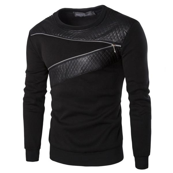 Gros-Plus Taille En Cuir Patchwork Hoodies Hommes Zipper Décoration À Manches Longues Sweat Tops Hommes Hoodie Loisirs Vêtements YA355