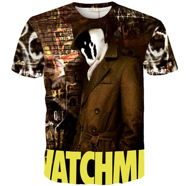 Masked man T shirt Watchman Killer short sleeve gown Cool design tees Street printing clothing Unisex cotton Tshirt