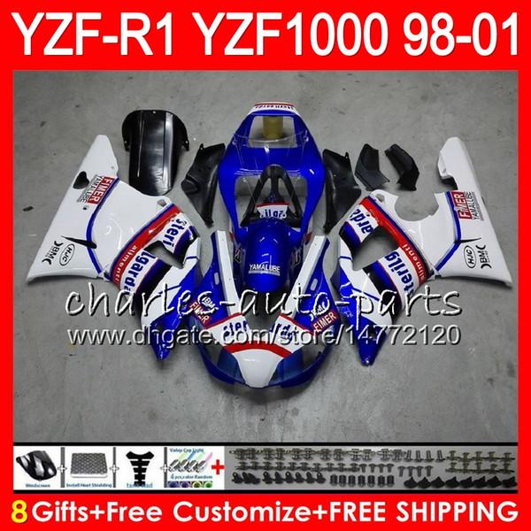 8Gift 23Color Body For YAMAHA YZF 1000 R 1 YZFR1 98 99 00 01 61HM15 blue black YZF1000 YZF R1 YZF-R1000 YZF-R1 1998 1999 2000 2001 Fairing