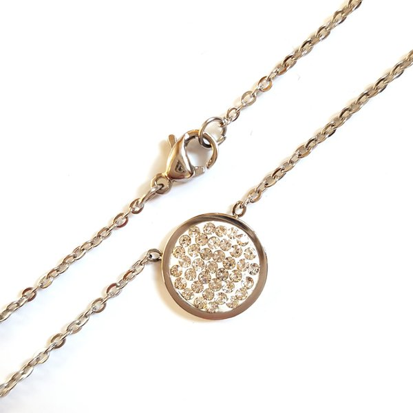 Rhinestone Stainless Steel necklace, with clay pave rhinestone, 12x1.5mm, Sold by approx 18 inch/strand