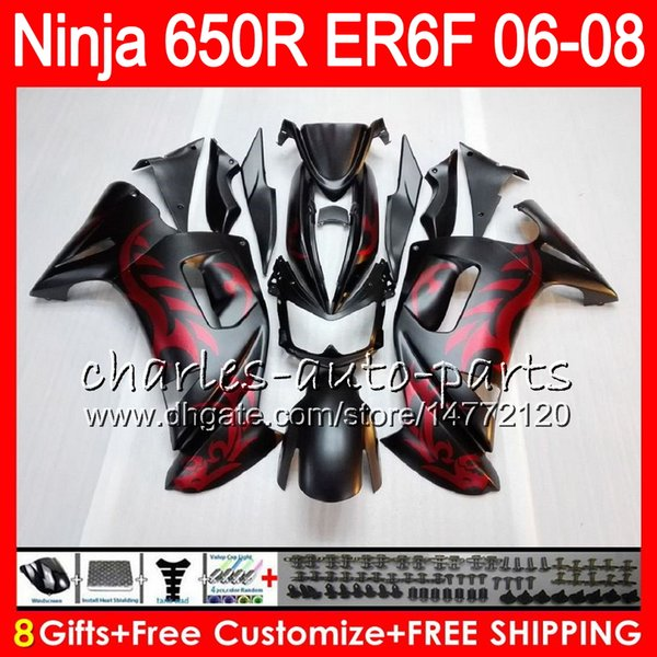 Red flames 8Gifts 23Colors Body For KAWASAKI NINJA 650R ER6F 06 07 08 20HM3 ER 6F 06-08 ER6 F ER-6F 2006 2007 2008 Fairing Kit Matte black