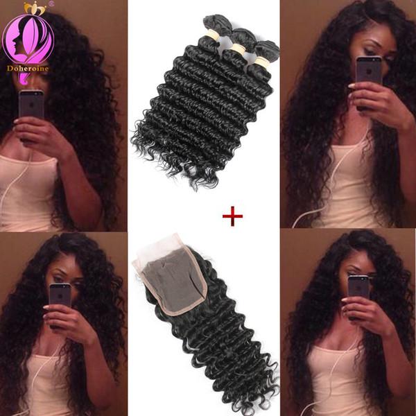 Brazilian Deep Wave Human Hair With Lace Closure Unprocessed Deep Wave Bundles With Lace Closure 3Pcs Hair Weft With Lace Closure