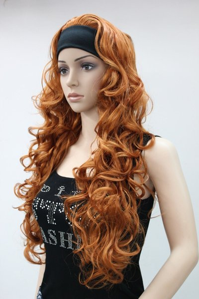 free shipping Charming beautiful New fashion orange brown 3/4 wig with headband curly long synthetic women's half wig