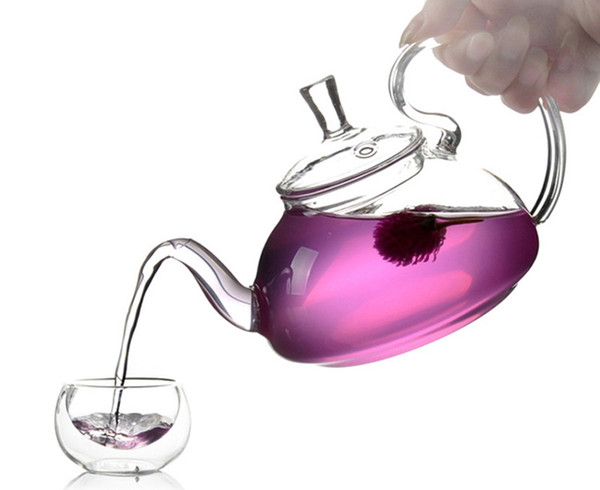 1PC 1200ml Heat Resistant With High Handle Flower Coffee Glass Tea Pot Blooming Chinese Glass Teapots J1011-4