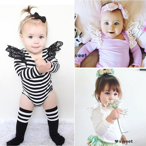 2017 4 color INS hot baby girl kids toddler Lace romper onesies diaper covers bloomers Dress jumper Fly sleeve crochet shoulder pajamas