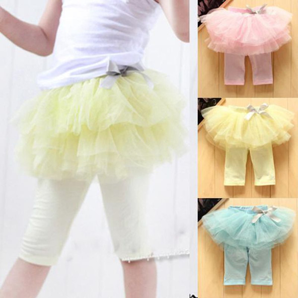 Children tutu skirt legging Baby Clothing Child Summer Shorts Girls Lace Tights Skinny Pants Fashion Bowknot Princess Leggings Kids Culottes