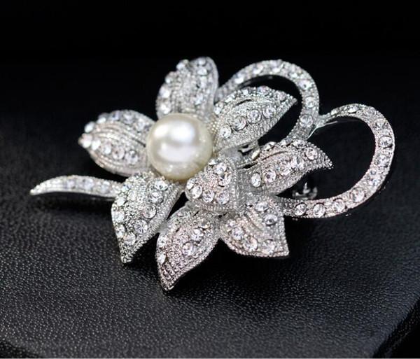 Luxury Big Silver Tone Pearl Crystal Flower Brooches Pin Full Rhinestone Pins Wedding Bridal Brooch Party Costume Corsage