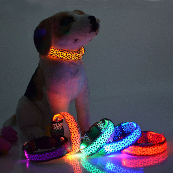 Leopard LED Dog Collar Solid Color Nylon Dog Pet Flashing Night Light Up Lead Necklace Adjustable Collars ZA3758