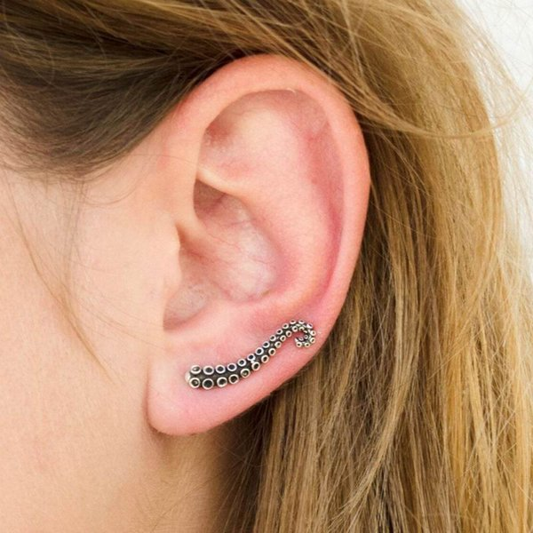 Europe and the United States punk exaggerated octopus tentacles earrings vintage personlized alloy animal stud earrings wholesale