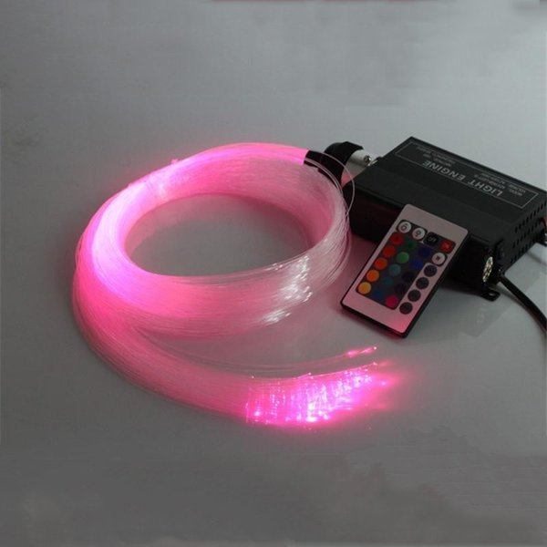 Novelty Lighting LED Fiber Optic Light 16W RGB Multi-Colored Fibre DIY 200pcs 2m 1.0mm Ceiling Light Engine +24key remote One set Light