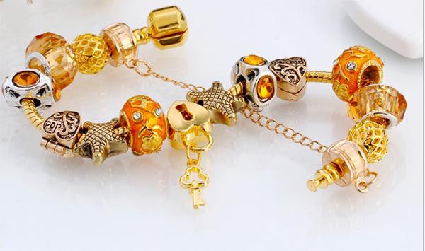 bracciale in pelle moda donna, bracciale catena perline per la festa della mamma, bracciale in cristallo di Murano bracciale in oro giallo placcato