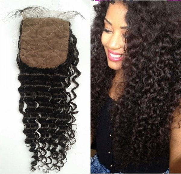Deep Wave Human Hair Silk Base Closure with Hidden Knots Malaysian Virign Hair Middle Free 3 Part Top Closure FDSHINE