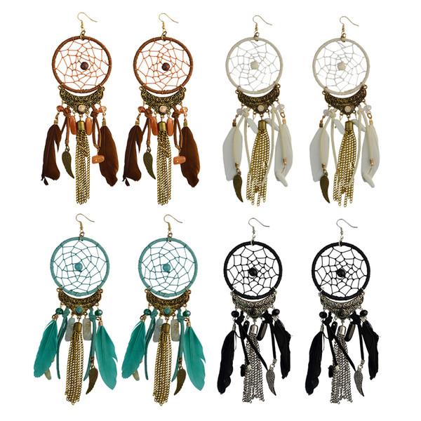 Idealway 4 colori moda pelle piuma in resina perline Dream Catcher ali in lega catena nappa ciondola gli orecchini gioielli regalo