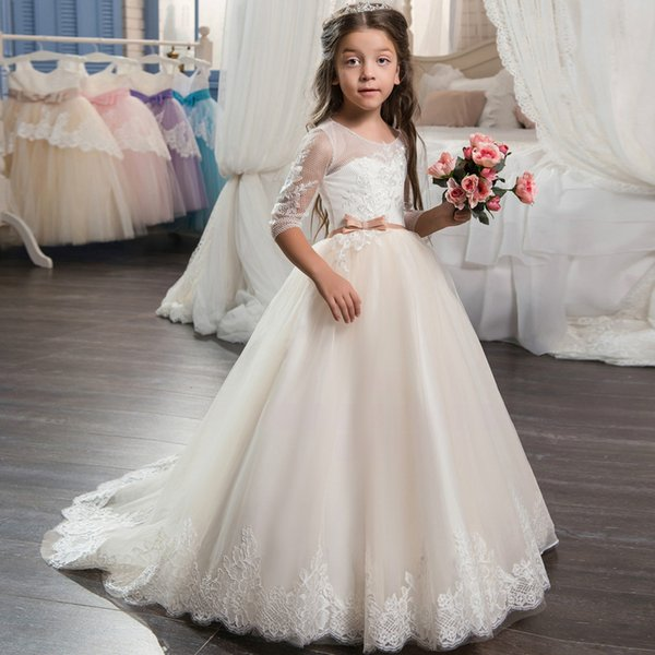 2019 Beautiful Champagne Lace Flower Girl Dress with Sleeves Lace Train Kids Corset Ball Gown Prom Dress for Girls Size 8 12