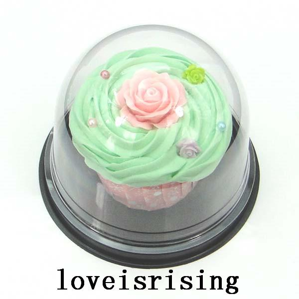 100pcs=50sets Clear Plastic Cupcake Cake Dome Favors Boxes Container Wedding Party Decor Gift Boxes Wedding cake Boxes Supplies
