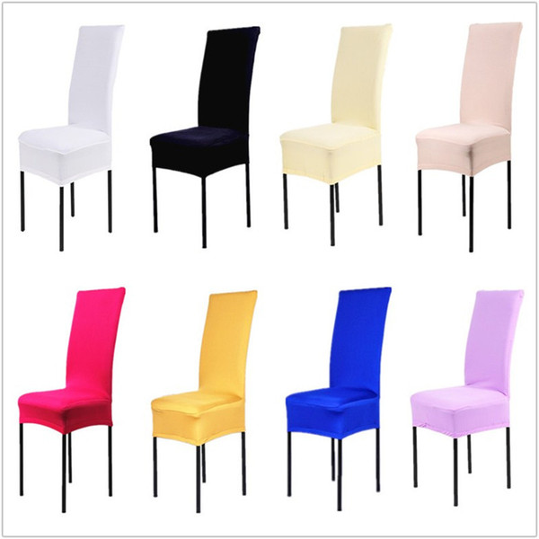 Chair Covers 24 Solid Colors Polyester Spandex Dining For Wedding Party Chair Cover Brown Dining Chair Seat Covers