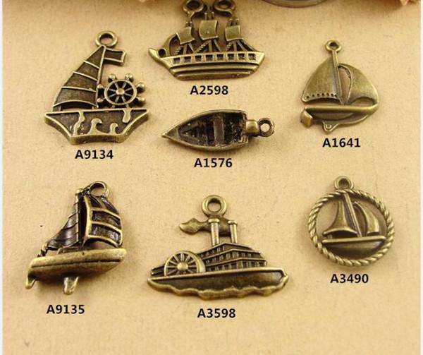 Bulk Material retro DIY nautischen Schmuck handgemachte Accessoires Bronze Legierung Schiff Charms baumeln, Vintage tibetischen handgemachte Segelboot Anhänger