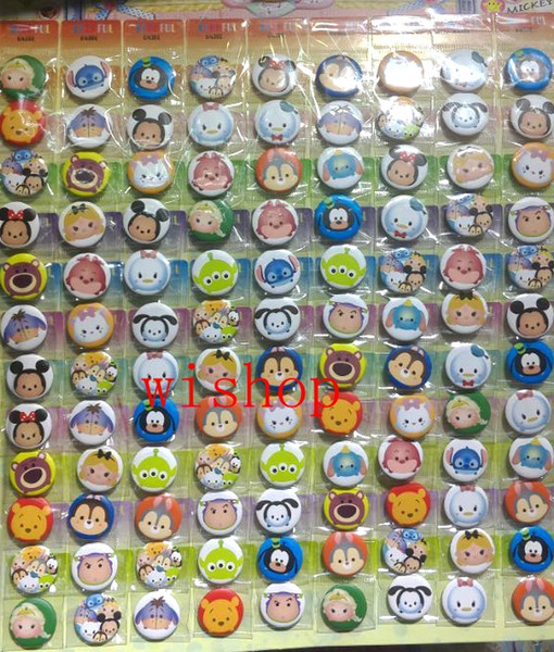 Wholesale- New 108pcs/set Popular Cartoon Tsum Pin Badges,Round Brooch Badge Kids Clothing Accessories 2.5cm Free Shipping po20