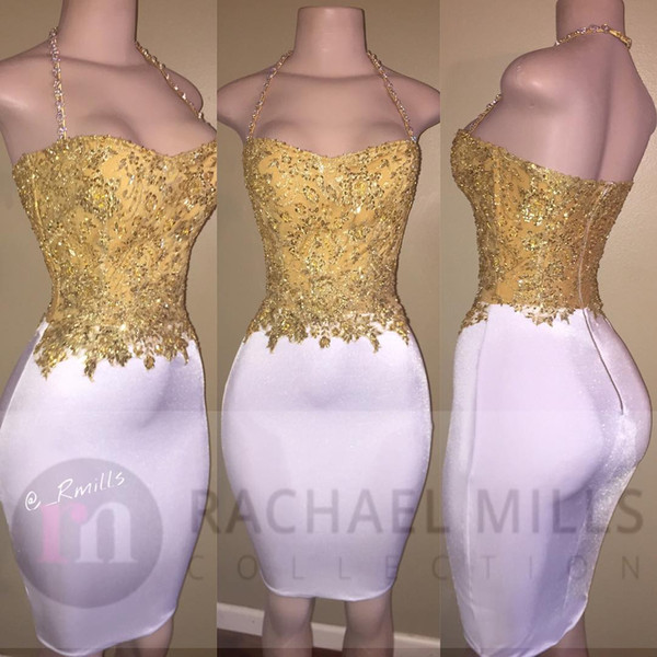 White And Gold Short Prom Dresses Mermaid 2K17 Sexy Halter Open Back Party Pageant Gowns Formal Evening Wear Dress Free Shipping