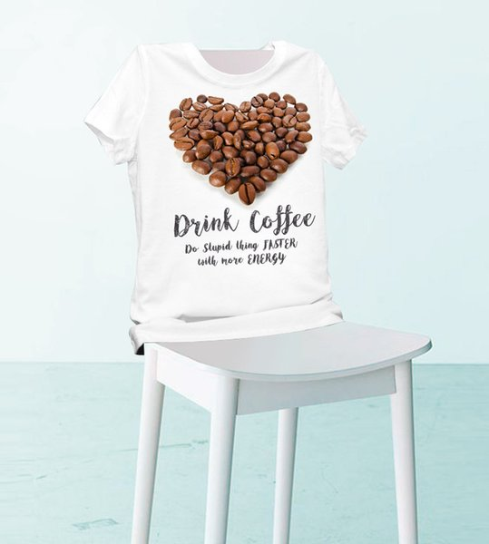Women Lady Girl Heart Shape Drink Coffee Print Beauty T-shirt Funny T Shirts Short Sleeve Tee Shirt Tops Clothes Women's Summer T-Shirt