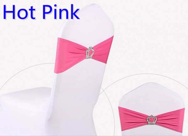 Hot pink colour Crown buckle lycra sash for wedding chairs decoration spandex band stretch bow tie lycra ribbon belt on sale