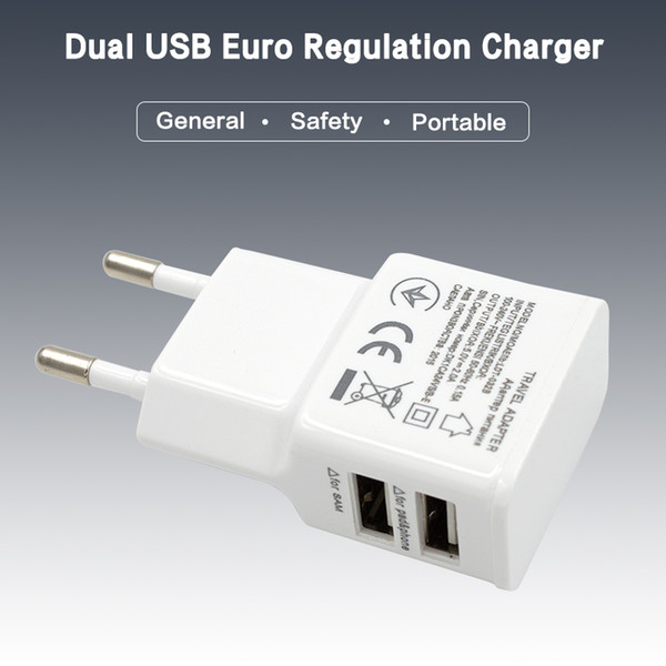 good quality 5V 2.1 1A 2-port Dual USB Wall Charger Travel USB Charger for iPhone Samsung Galaxy HTC Mobile Phones Adapter charger