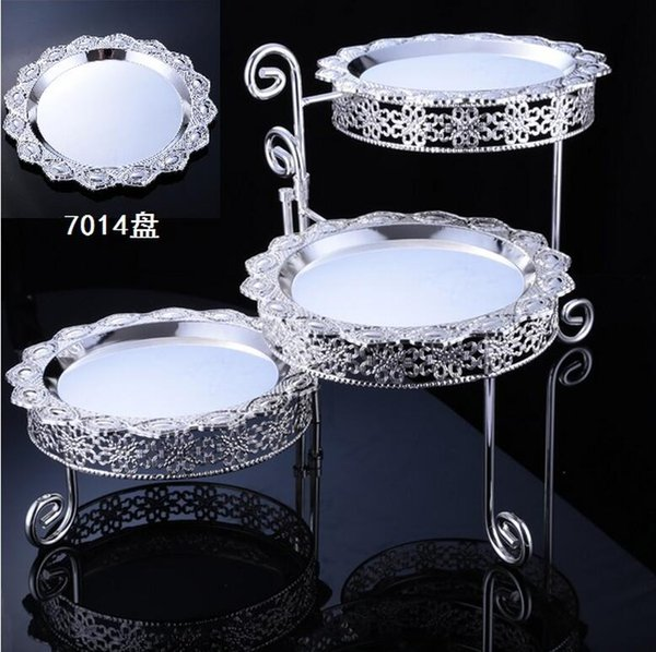 placcato argento torta dessert tavolo casa soggiorno matrimonio ornamenti tre strati vassoio di frutta da dessert