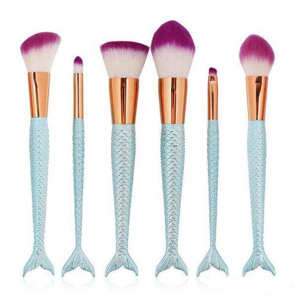 2018 Mermaid Makeup Brushes 6PCS/SET Eyeshadow Brushes Beauty Rainbow Colorful Cosmetics Brushes Sets Makeup Tool DHL free shipping
