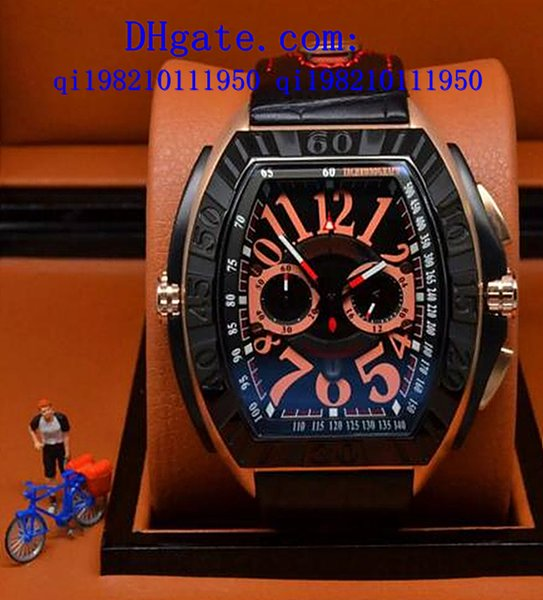 free gift box Luxury new Mens conquistador line chronograph quartz stop green noodle watch white dial casual Calendar Men Watches leather Wr
