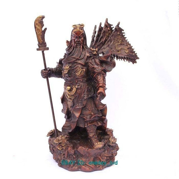 """Large Chinese bronze red copper Dragon Guan Gong Flag Statue Figure 11""""H"""