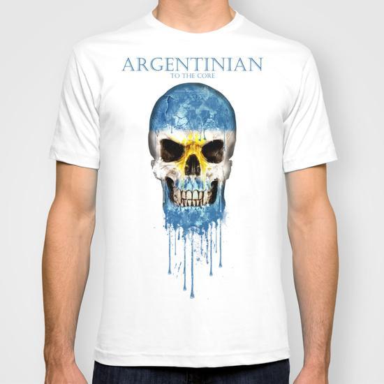 Kişilik Arjantin Kafatası bayrağı Tasarım stil Yeni Moda erkek Kısa Kollu Tişört Pamuk t-shirt